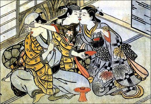 18th Century Japanese print of a man with his young male lover sneaking a kiss with a female servant.